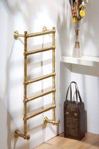 The Radiator Company Windsor Brass Heated Towel Rail For