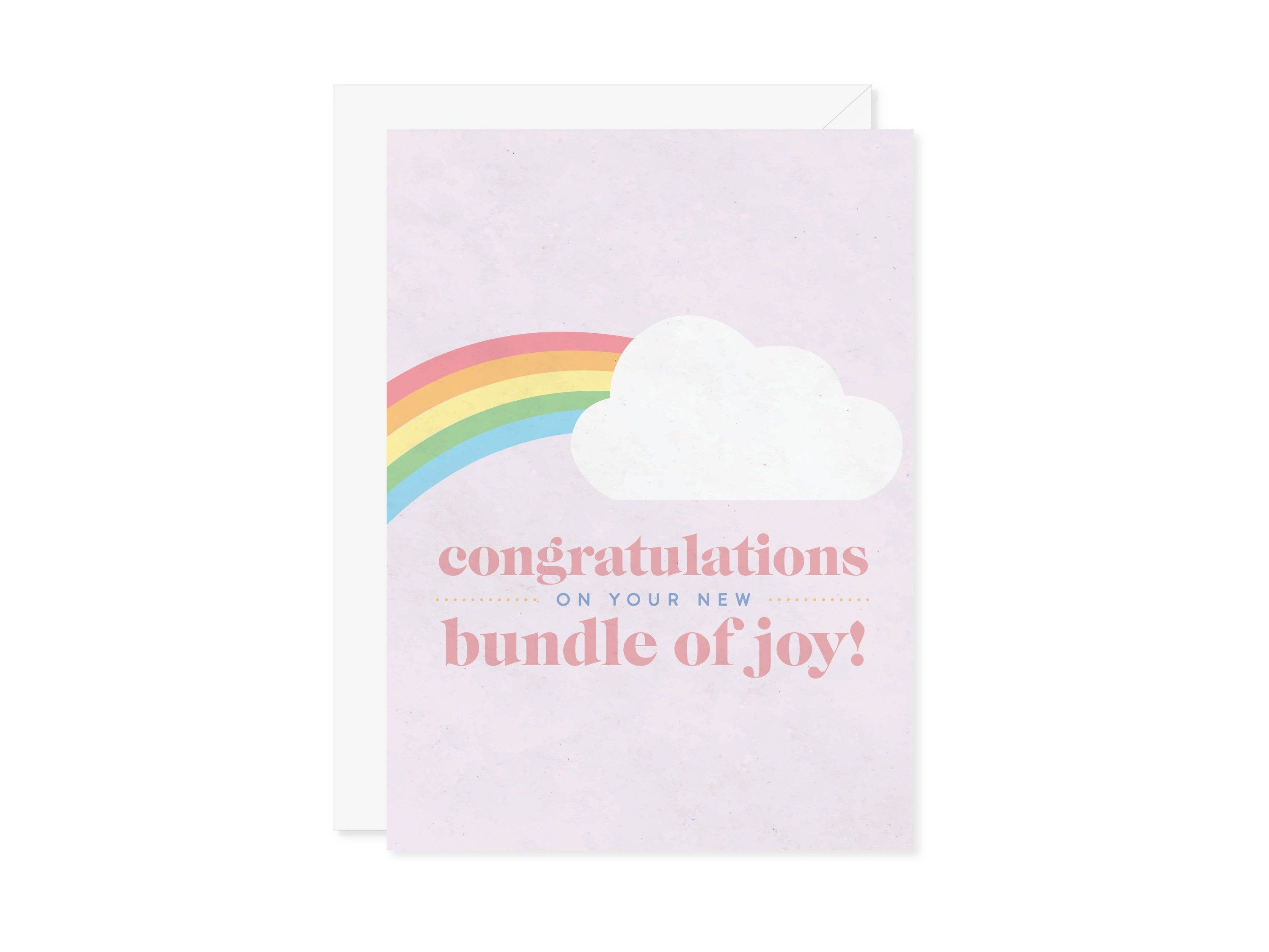 Congrats New Baby Card Rainbow Baby Shower Card Colorful New Baby Card