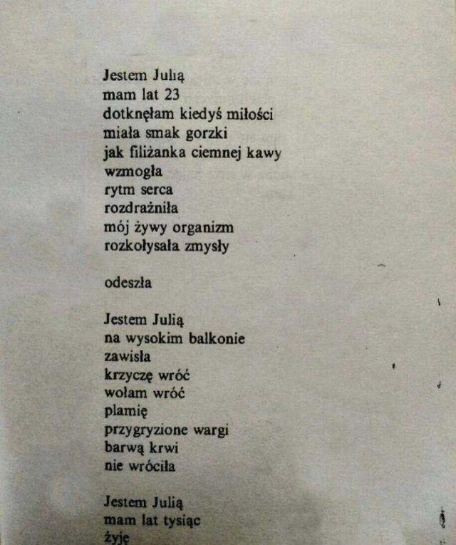 Jestem Julią Poświatowska Cytaty życiowe Wiersze I