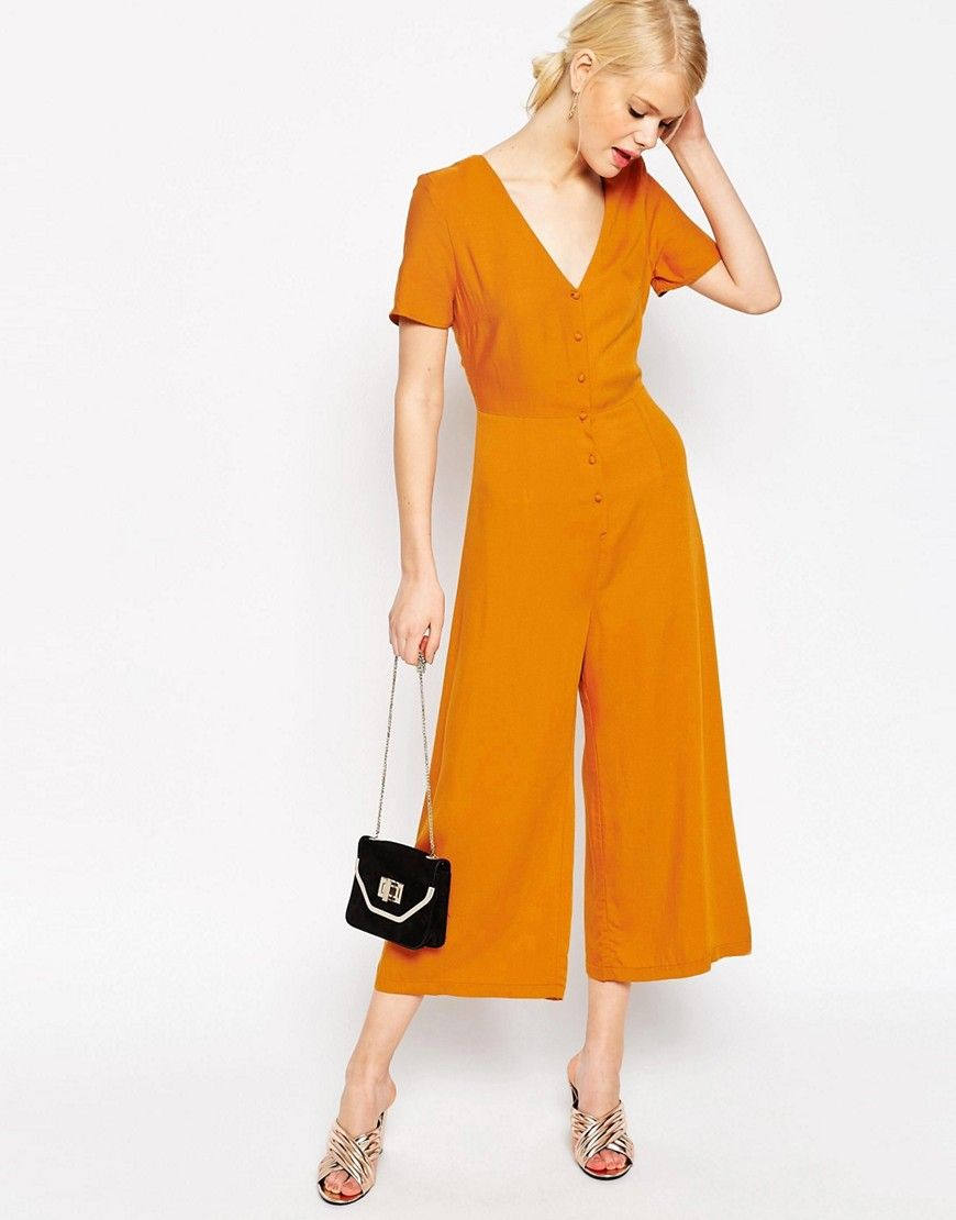 Image 4 of ASOS Button Through Jumpsuit with Wide Leg