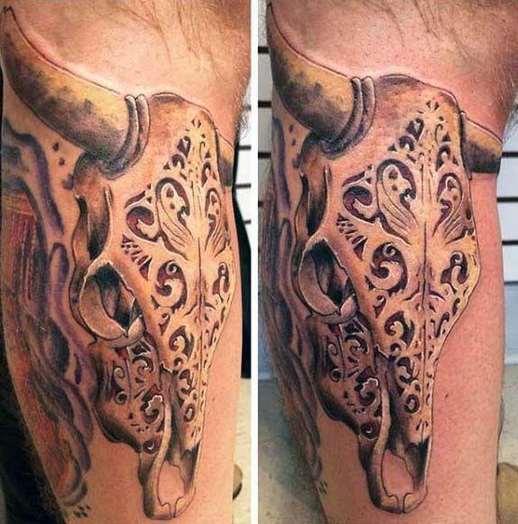 Gold Carved Bull Skull Mens Leg Tattoo Designs Bull Skull Tattoos Tattoo Designs Men Bull Skulls