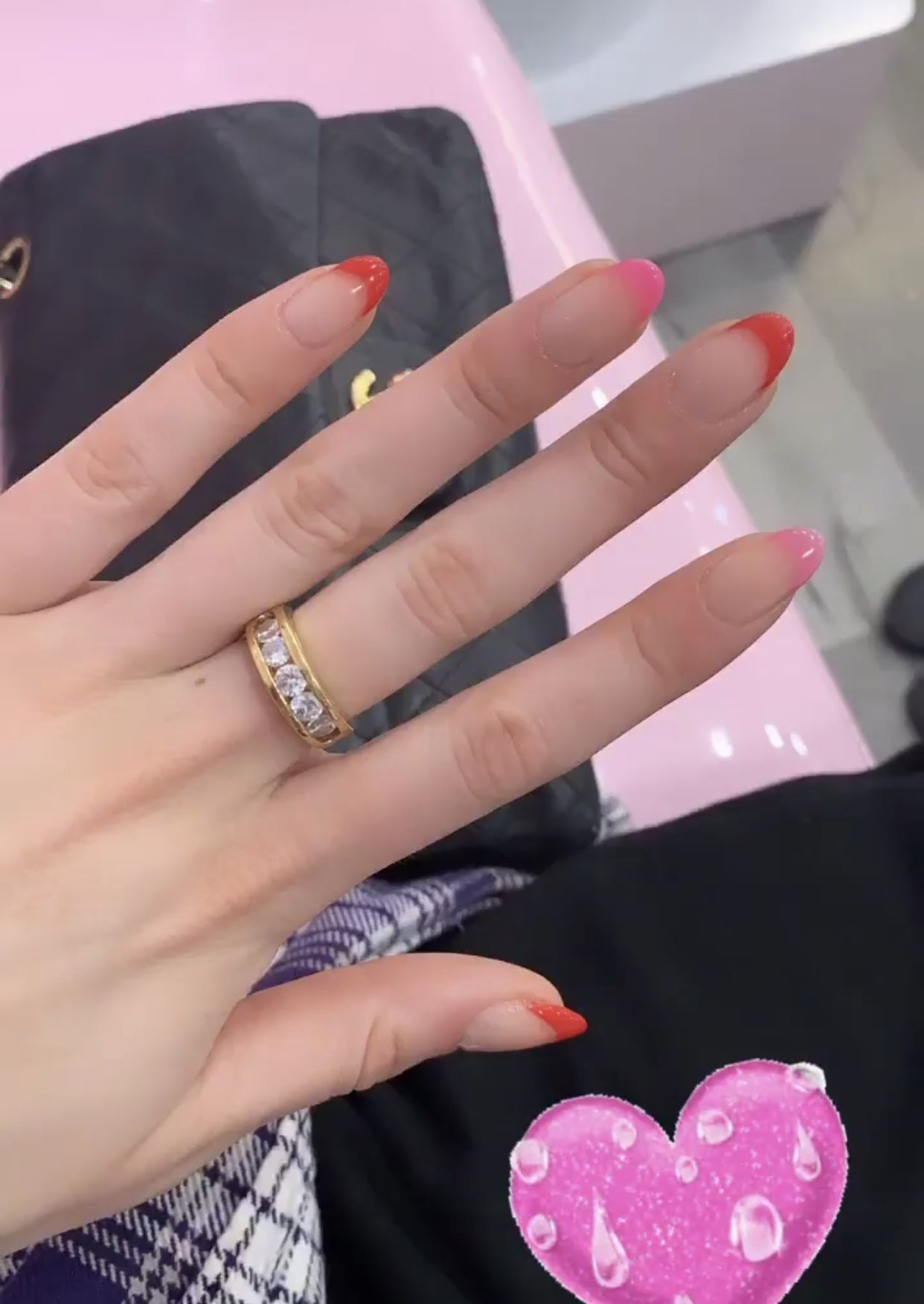 Red And Pink Oval French Tip Acrylic Nails French Tip Acrylic Nails Pink French Nails Oval Acrylic Nails