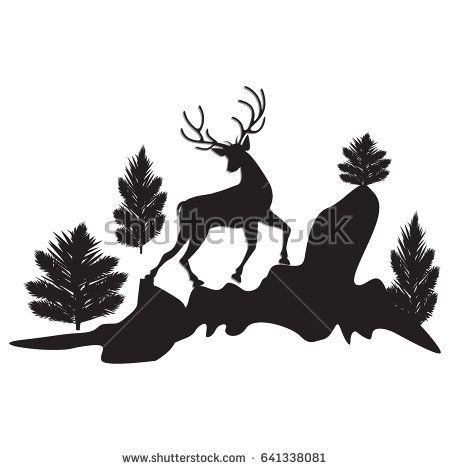 silhouette running deer trees cliffs black isolated on white background art abstract creative modern vector