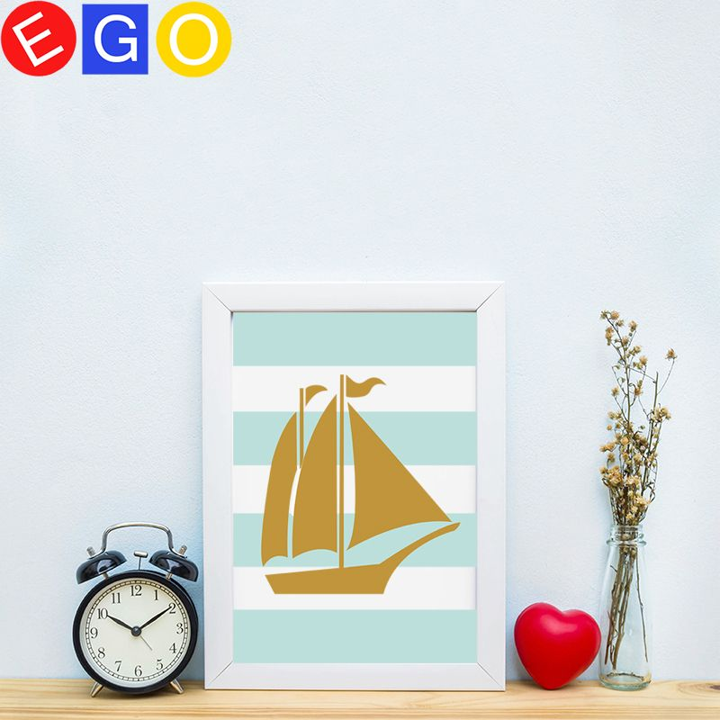 Gold Boat Cartoon Canvas Art Print Poster Wall Pictures oil painting