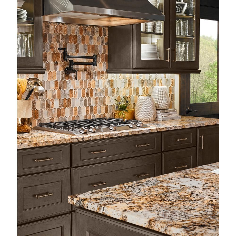 Msi Taos Picket 12 In X 12 In X 8mm Glass Mesh Mounted Mosaic Tile 10 Sq Ft C Brown Kitchen Cabinets Rustic Kitchen Cabinets Granite Countertops Kitchen