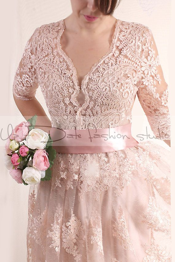 Plus Size Lace Short Reception Blush Pink Wedding Party Alencon Lace Dress 3 4 Sle Lace Dress With Sleeves Short Lace Dress Blush Pink Bridesmaid Dresses