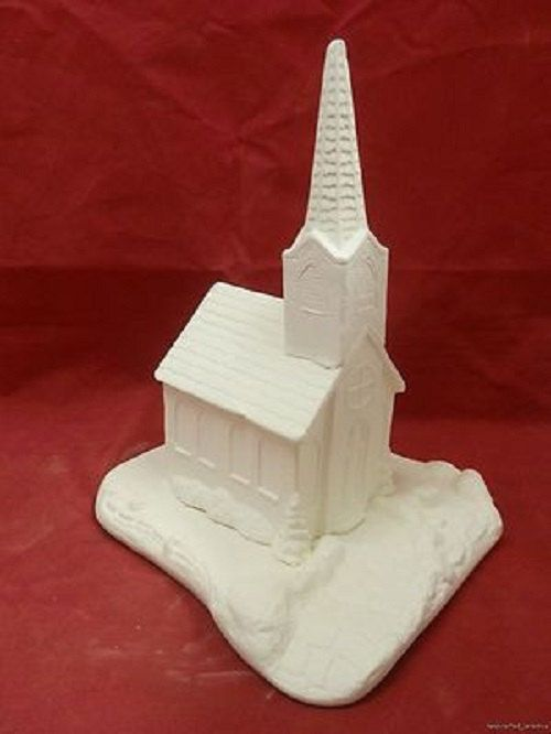 Ceramic bisque church with base measures 9 1 2 tall ready for Ceramic based paint