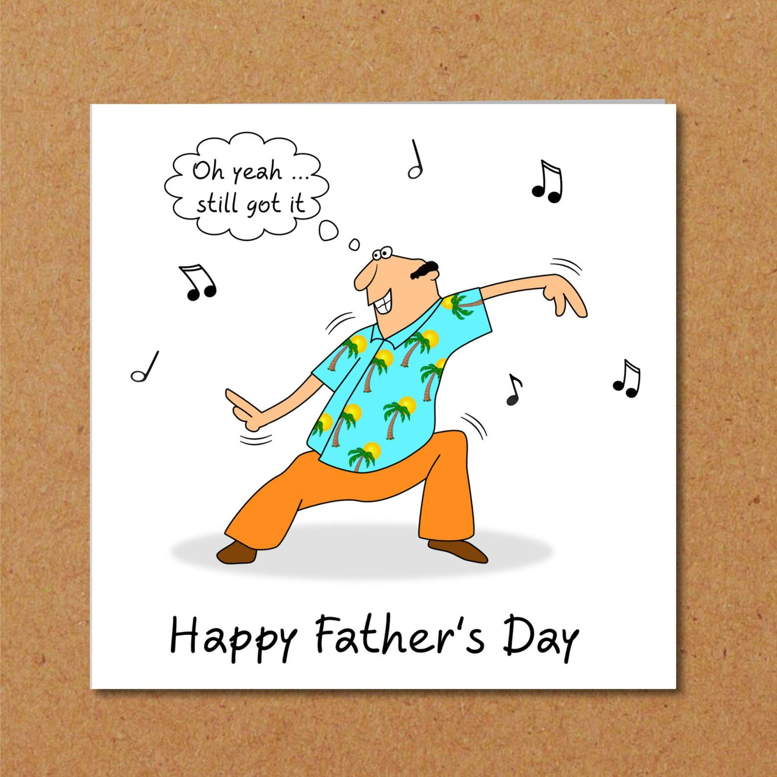 Funny Fathers Day Card Dad dancing humorous, amusing