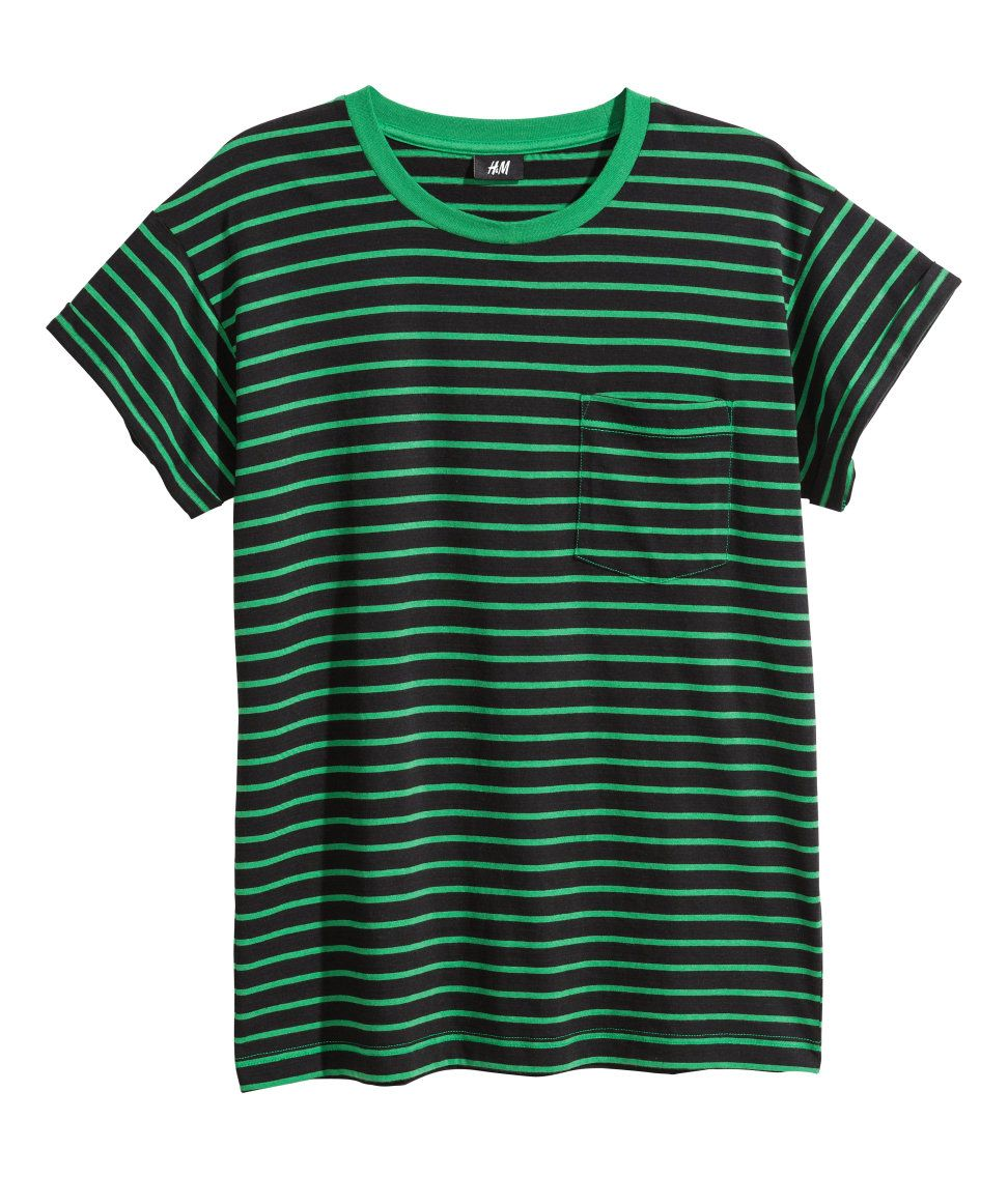 Black & green striped t-shirt with chest pocket and sewn cuffs. | H&M
