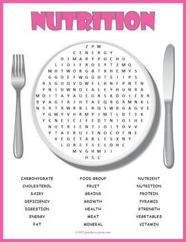 nutrition word search puzzle science pinterest nutrition
