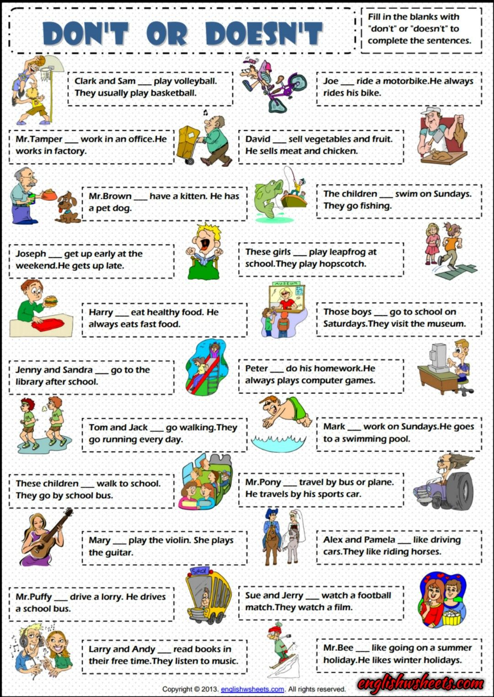 Don\'t or Doesn\'t Present Simple ESL Exercise Worksheet | Esl ...
