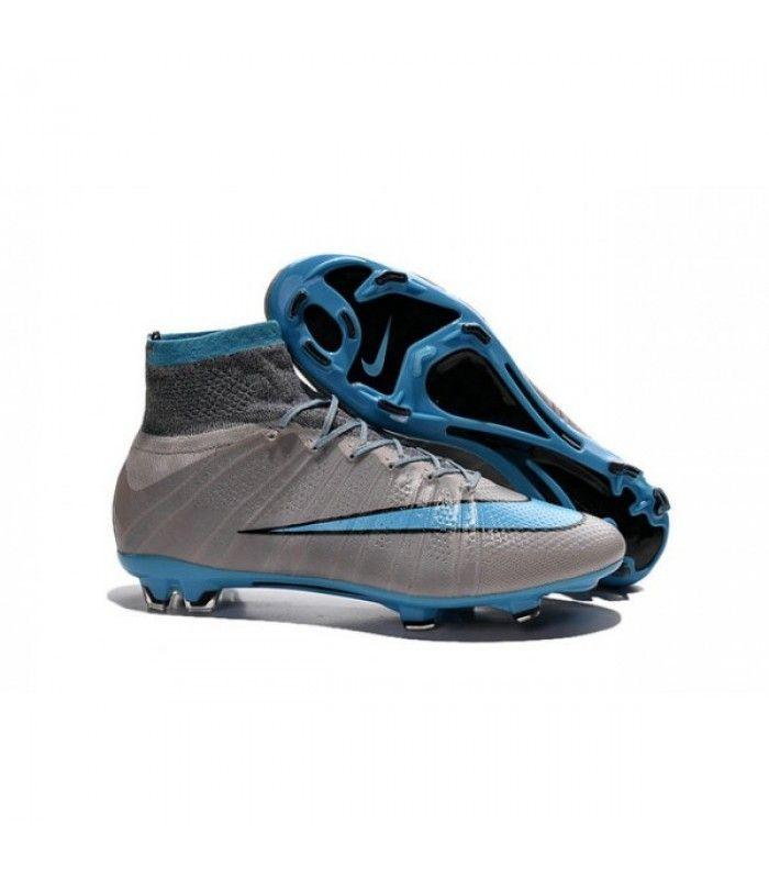 Acheter 2015 Nouvelle Chaussure Nike Mercurial Superfly IV FG Bleu Gris Noir pas cher en ligne 114,00€ sur http://cramponsdefootdiscount.com