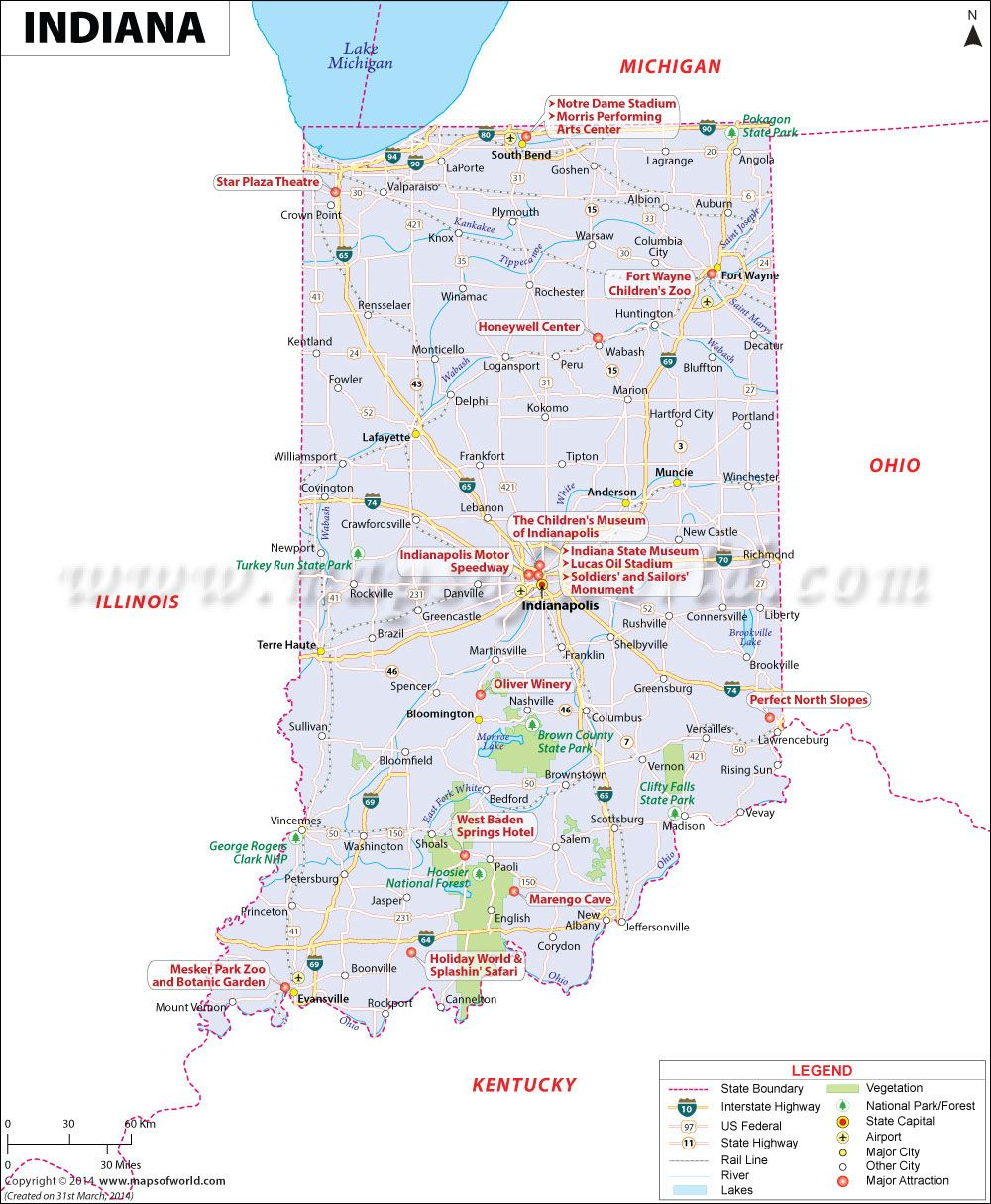 Indiana Map Showing The Major Travel Attractions Including Cities - Map of united states and cities
