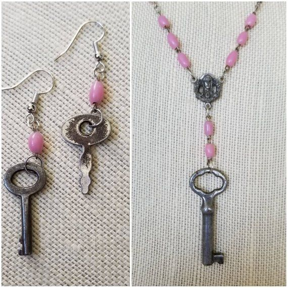 Vintage skeleton key necklace and earrings, pink rosary beads, key necklace, key earrings, handmade assemblage jewelry, jewelry gift set #rosaryjewelry