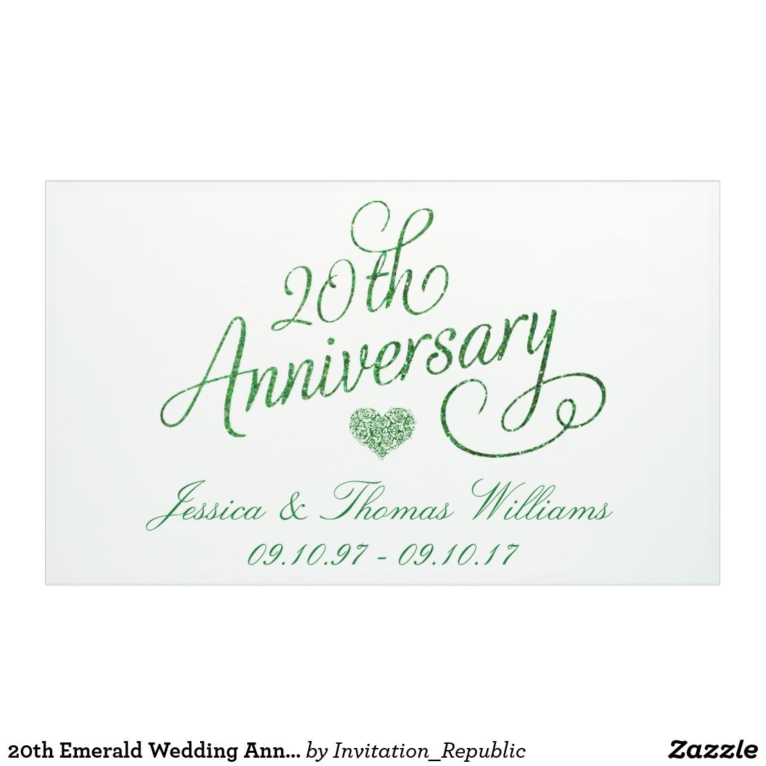 20th Emerald Wedding Anniversary Banner
