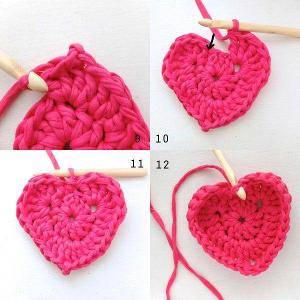 Crochet Heart Shaped Storage Baskets | Cestas, Ganchillo y Trapillo