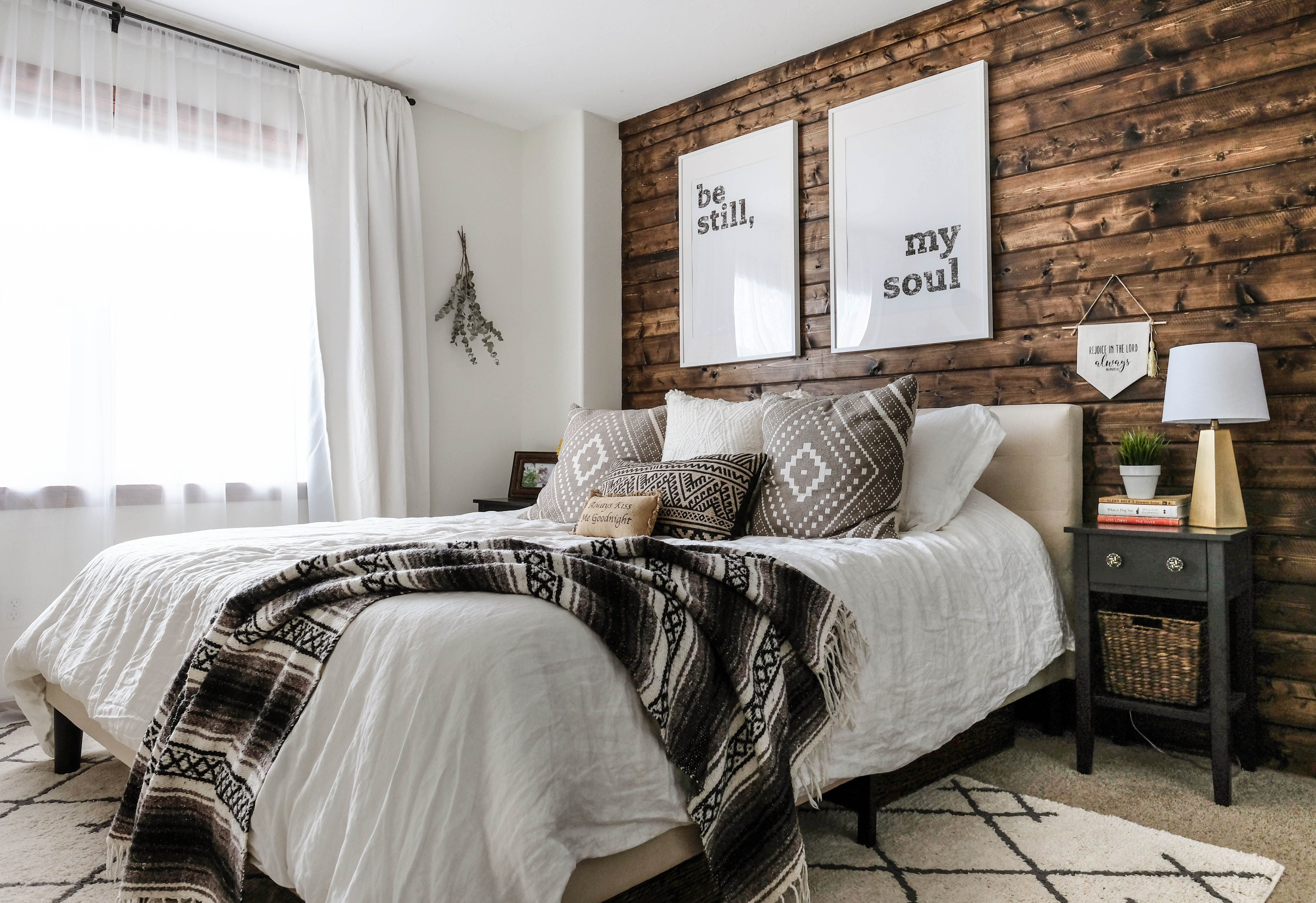 Modern Rustic Bedroom Reveal Tips On Blending Two Styles Modern Rustic Bedrooms Rustic Bedroom Wood Walls Bedroom
