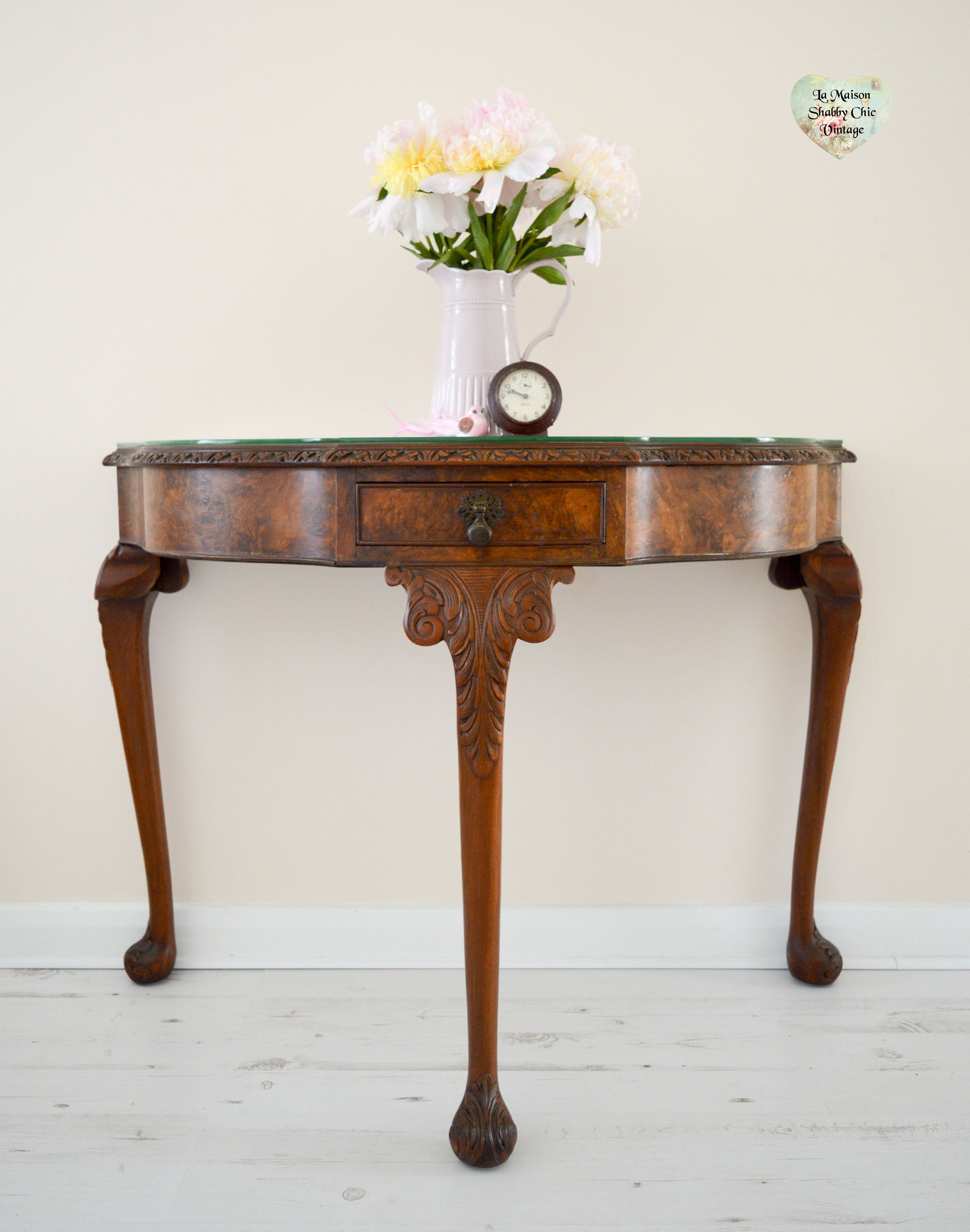 Grand Antique Console Table, Half Moon Regency 1930S Carved Ornate