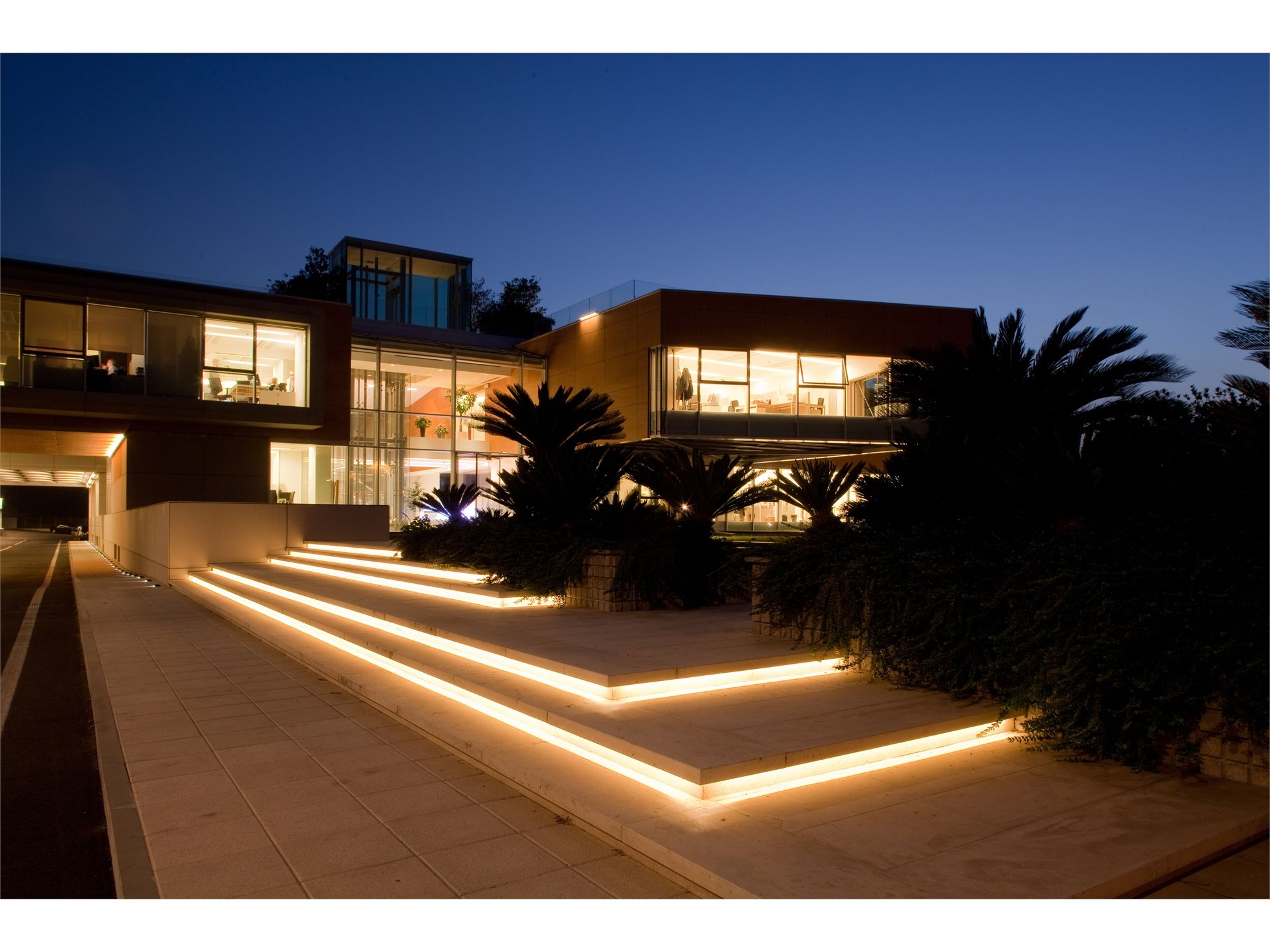 Outdoor Lighting Design Ideas related to landscape lighting lighting outdoor rooms Rainbow New Headquarters In Loreto Italy Lighting Products Iguzzini Illuminazione Photographed By