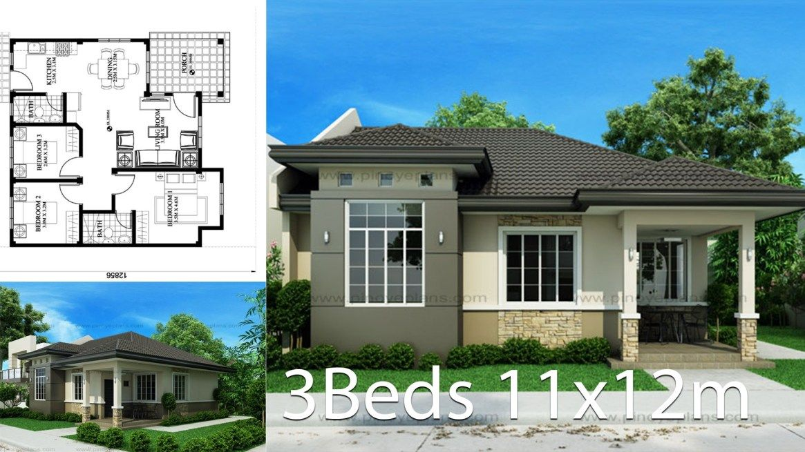 House Design 11x12m With 3 Bedrooms Home Design With Plansearch Bungalow Style House Plans House Layout Plans Bungalow House Design