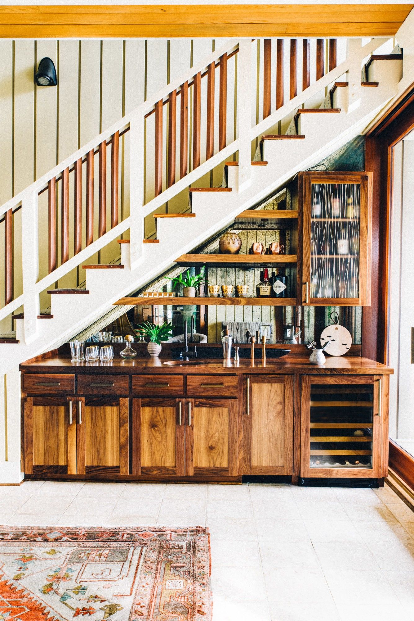 Bar Under The Stairs Love The Look If I Have Room | Bar Counter Design Under Stairs