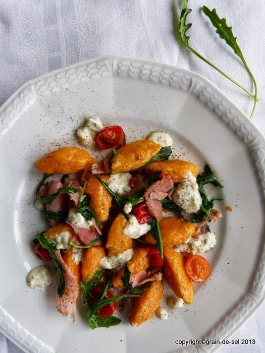 grain de sel - salzkorn: Fabuleuse zum Dritten: Süßkartoffel-Nocken mit Rucola, Gorgonzola und Schinken