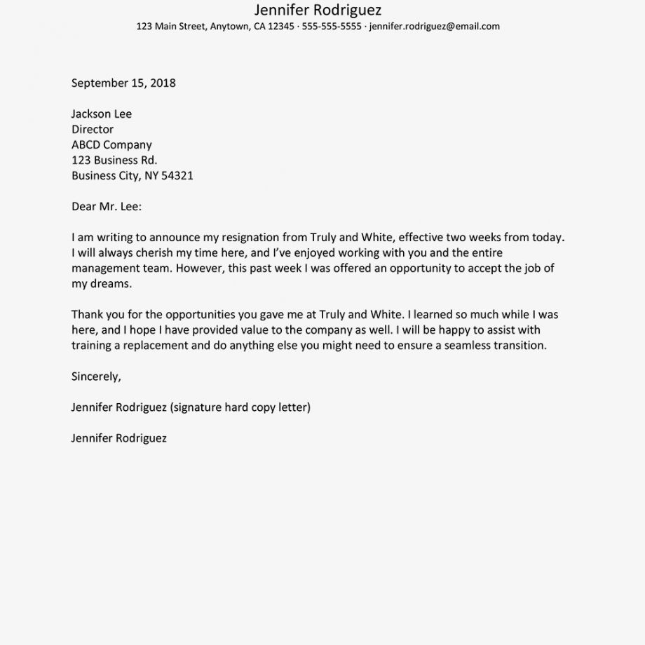Explore Our Sample of Resignation Letter Due To Hostile