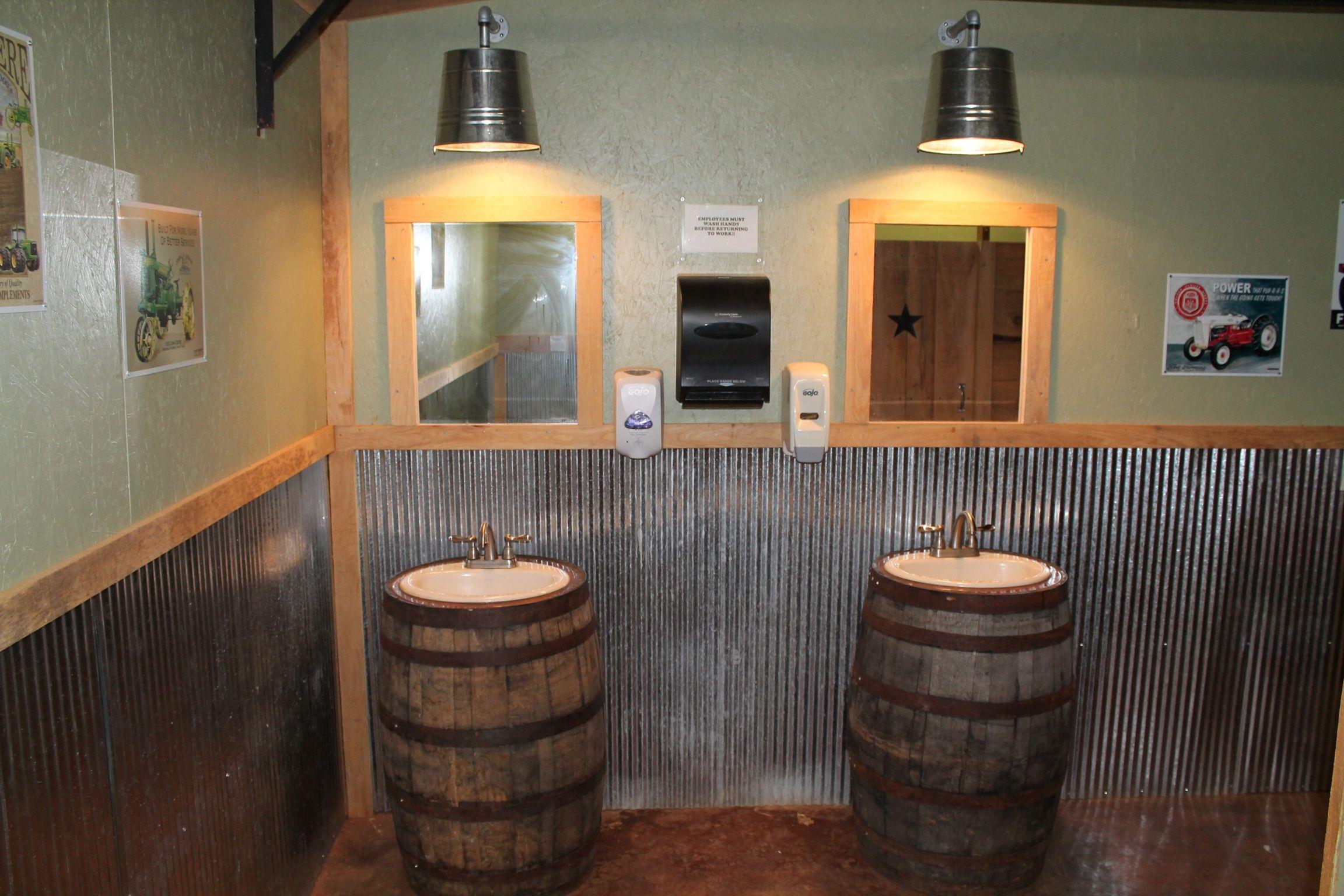 Whiskey barrel sinks in men 39 s restroom at lazy acres for Whiskey barrel bathtub