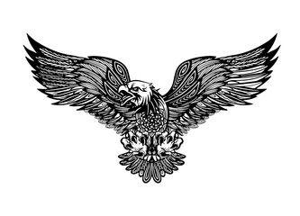 Eagle emblem isolated on white vector illustration