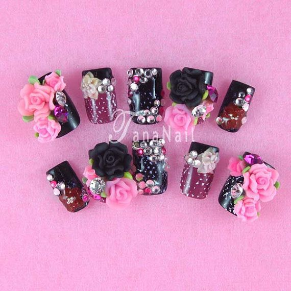 Japanese 3D Nail Art, Press On Nails, False Nails - Gorgeous Black & Purple French Nail Tips with Rose Hot Item (T072K) on Etsy, $34.00