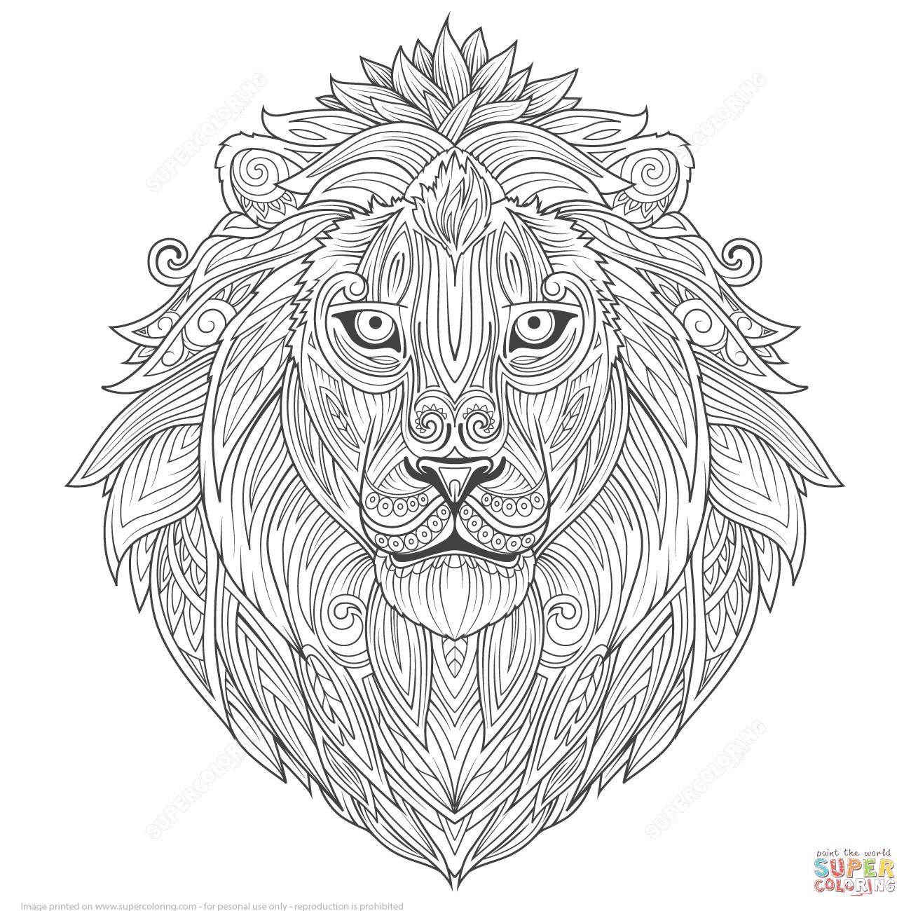 Lion Ethnic Zentangle