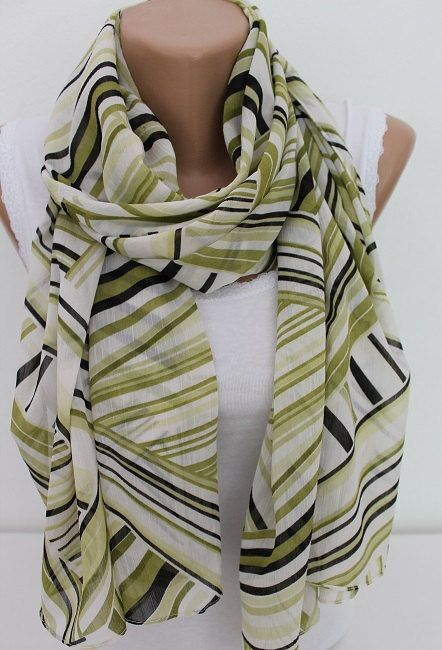 NEW SEASON Green Aztec tribal Scarf Chiffon by ElegantScarfStore