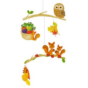 "FREE DOWNLOADABLE MOBILE This mobile is based on the theme of ""autumn,"" and features a family of squirrels who have completed their harvest. Hang it up in your room and enjoy a warm-hearted autumn atmosphere. #mobile #autumn #owl #squirrels #craft #DIY #papercraft #freebies #free"