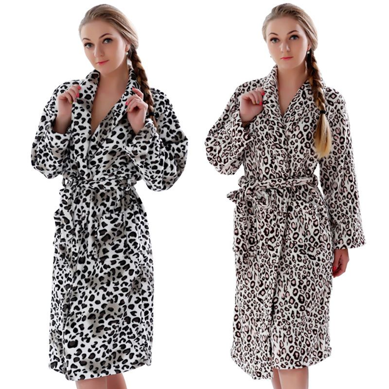 1903be321a1 Women Plus Size Leopard Coral Fleece Warm Bathrobe Nightwear Kimono Dressing  Gown Sleepwear Bath Robe For Ladies Price  41.80   FREE Shipping  bottoms