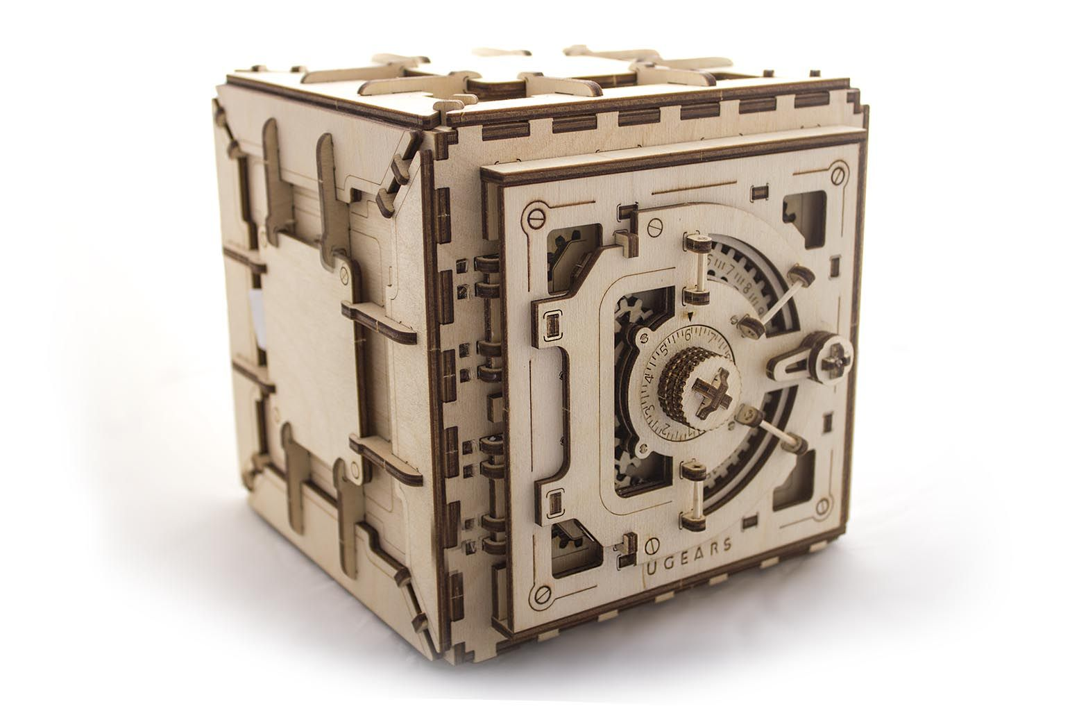Laser cut wooden safe with working three number