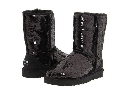 UGG Classic Sparkles Black Sequins - Zappos.com Free Shipping BOTH Ways Size 6