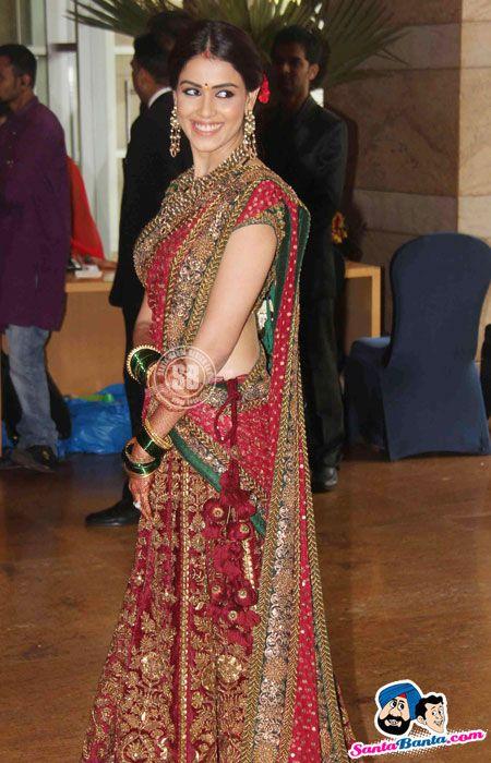 Bollywood genelia dsouza maroon and green   Indian bridal ...