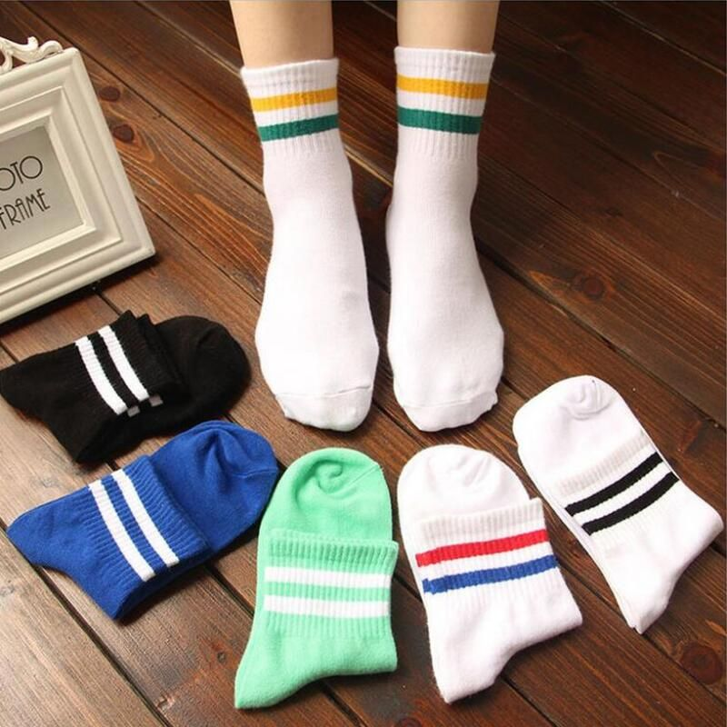 f99232812 Classic Men 2 Two Stripes Cotton Socks Retro Old School