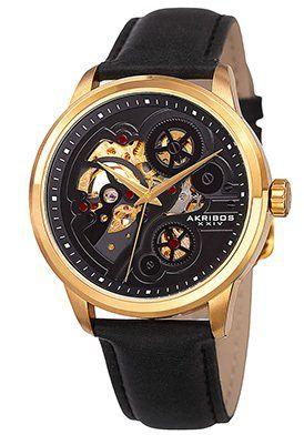 Men's Black Genuine Leather Skeletonized Dial - Mechanical watch