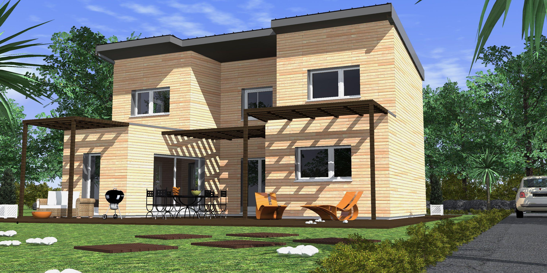 maison asym trique construite sur deux tages compos e d 39 une toiture bac acier un large patio. Black Bedroom Furniture Sets. Home Design Ideas
