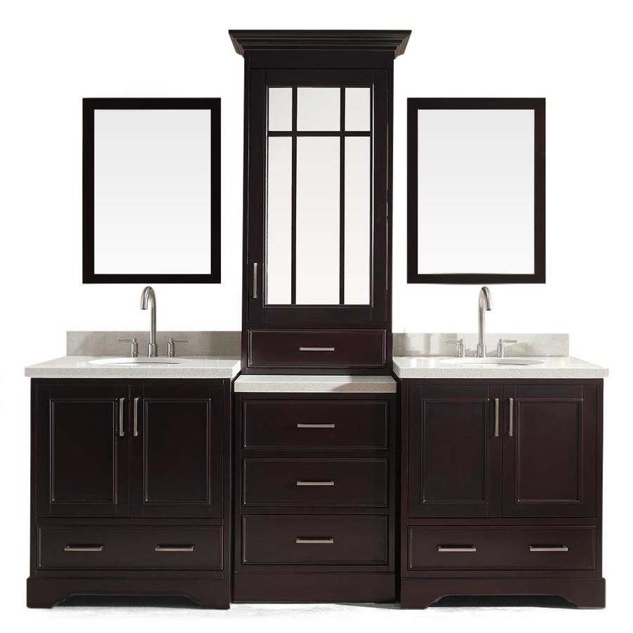 Stafford Espresso Undermount Double Sink Bathroom Vanity with Quartz