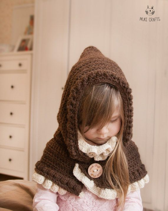CROCHET PATTERN hooded cowl Leena with inner cowl and ruffles | ropa ...