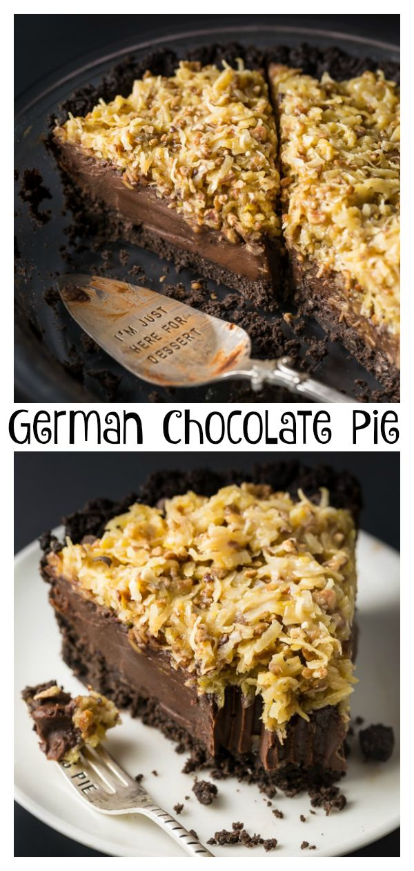 No-Bake German Chocolate Pie with Oreo Cookie Crust #germanchocolatecheesecake
