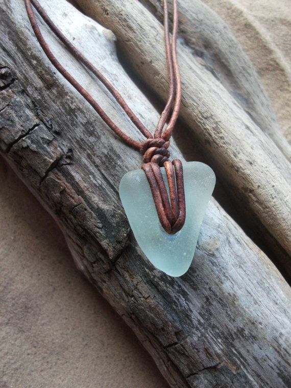 Sea glass jewelry Aqua Sea Glass Necklace by byNaturesDesignCL, £12.00