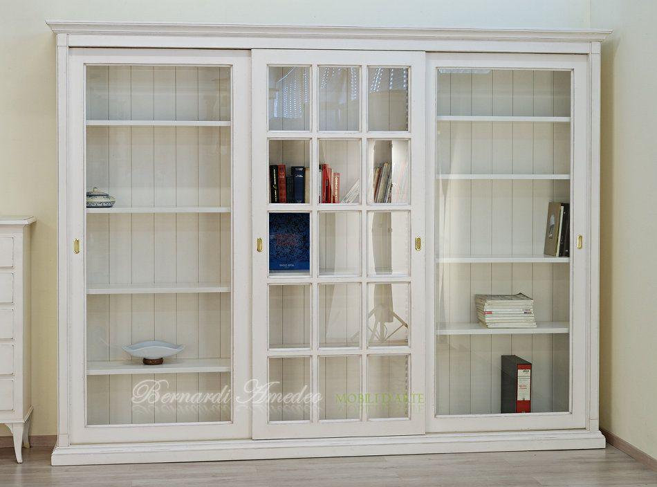 Libreria Ante Scorrevoli Vetro.Libreria Con Ante Scorrevoli Bianco Avorio Soggiorno Moderno Legno