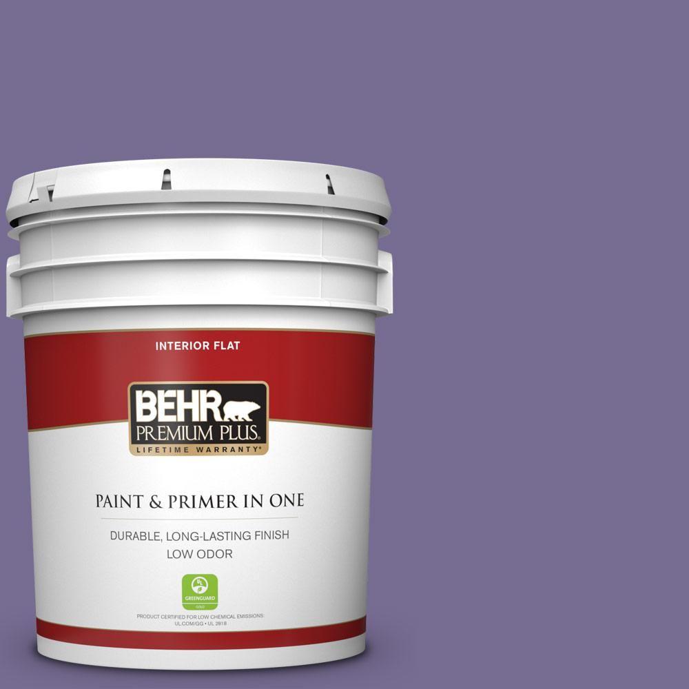 Behr Premium Plus 5 Gal 650d 6 Purple Silhouette Flat Low Odor Interior Paint And Primer In One Interior Paint Behr Exterior Paint