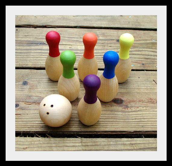Reserved For Mable Wooden Mini Bowling Game Waldorf Toy Rainbow