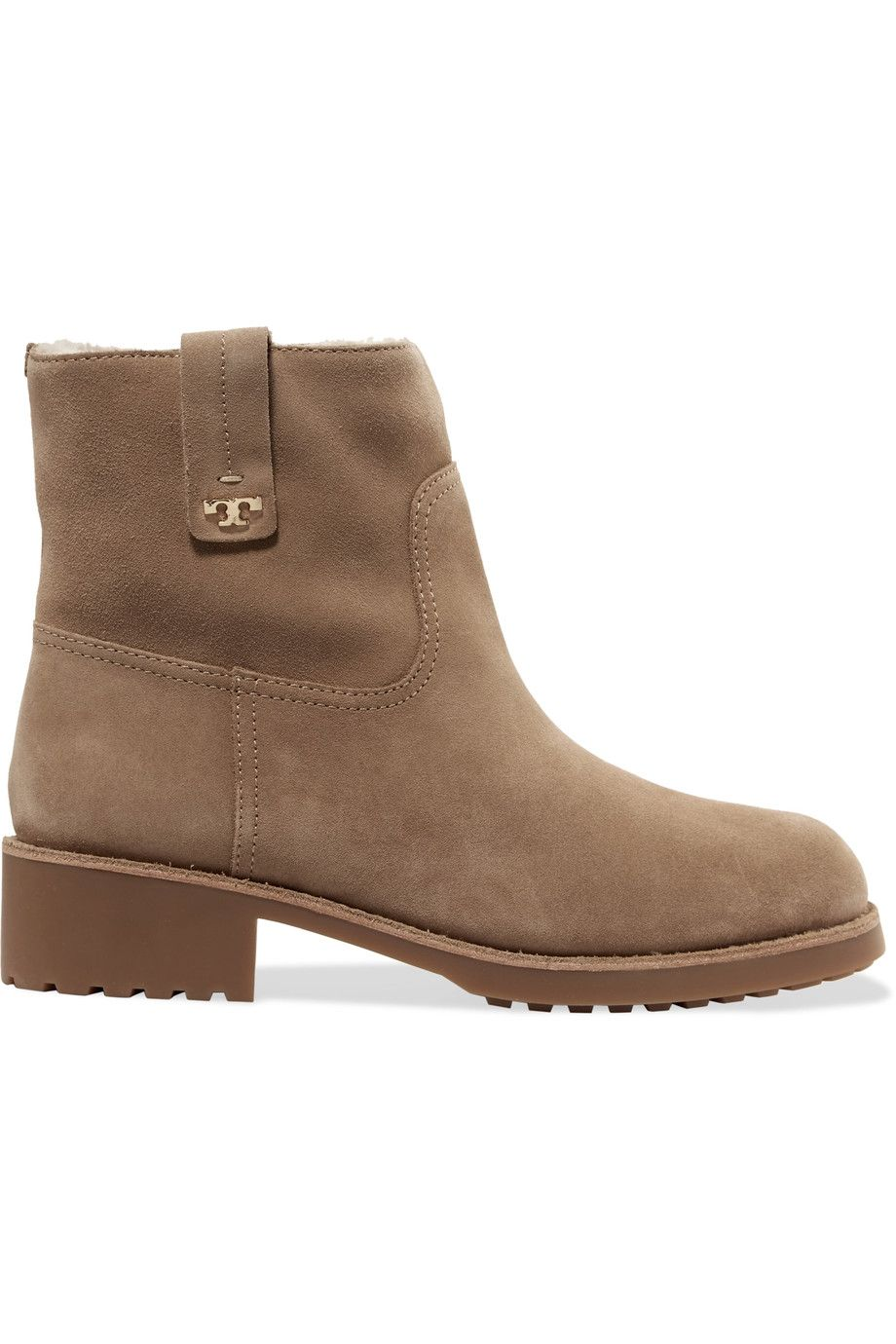 1bbdc9c9cc7dc TORY BURCH Wayland shearling-lined nubuck ankle boots.  toryburch  shoes   boots