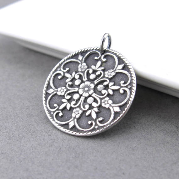 Flower Mandala Pendant Sterling Silver Pendant Add On Pendant Interchangeable Charm Silver Charm Only