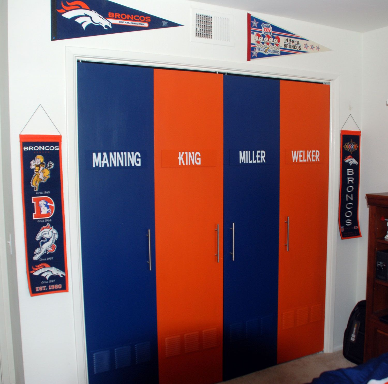 Locker Room Bedroom My Sons Accordion Closet Doors Made To Look Like Lockers Diy